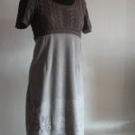 Платье коричневое. Кокетка вязаная