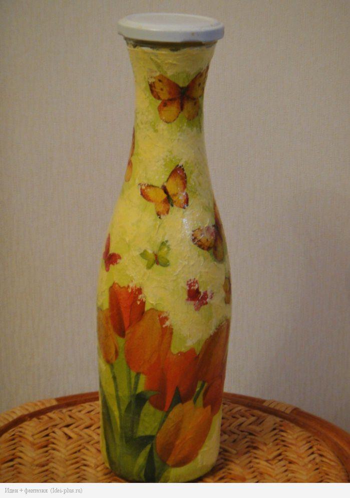 Декупаж. Бутылка с тюльпанами и бабочками