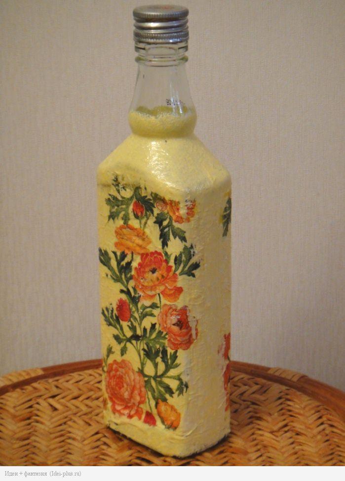 Декупаж. Бутылка с цветами